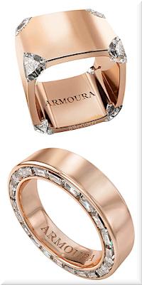 ♦Armoura Trilliant rose gold diamond ring & Arclight baguette cut diamond eternity ring #jewelry #armoura #brilliantluxury