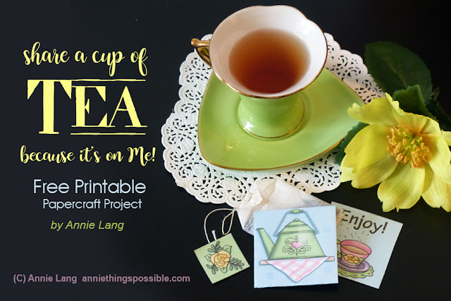 Annie Lang's free, fun and easy tea bag holder papercraft project you can make in just minutes