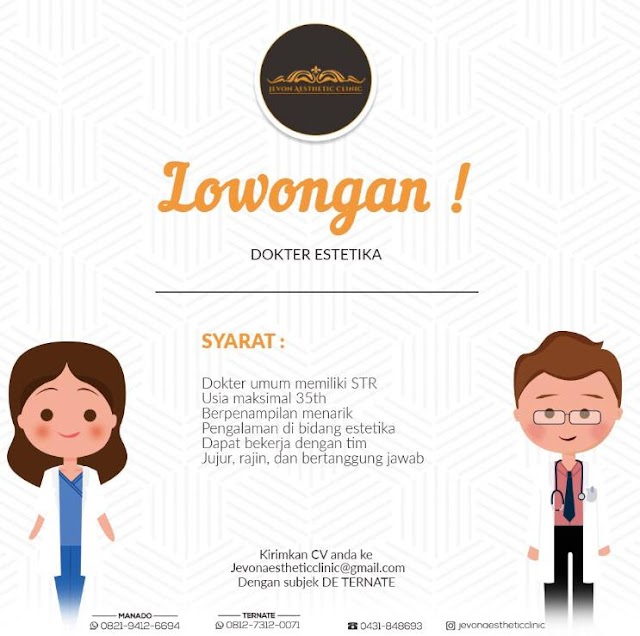 Loker Dokter Jevona Esthetic Clinic Manado dan Ternate
