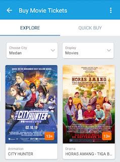 menu pilihan film di bioskop traveloka xperience