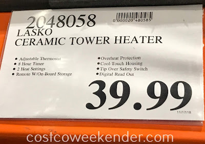 Deal for the Lasko Ceramic Tower Heater at Costco