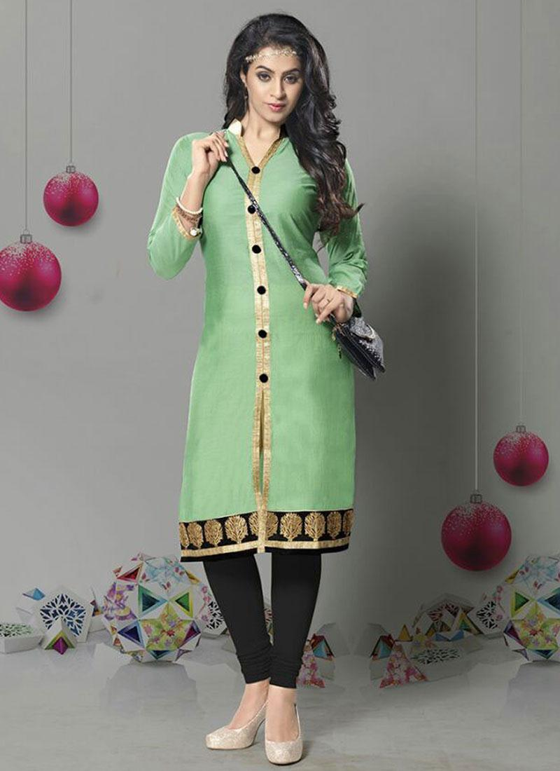LICHI-Latest Fashion Chanderi Silk With  Embroidery Work Kurti Online