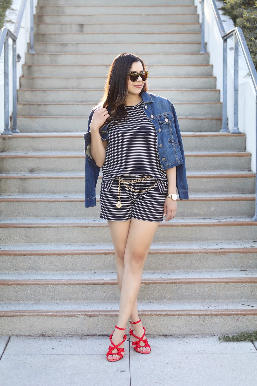 san diego spring style, denim jacket with striped romper
