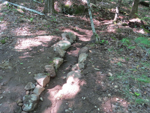 water channel on a trail.