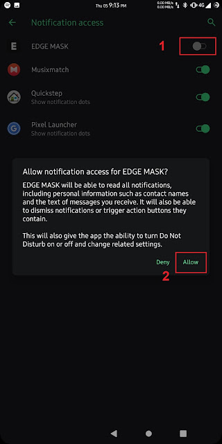 Proses Meng-enable Notifikasi Akses Untuk EDGE Mask