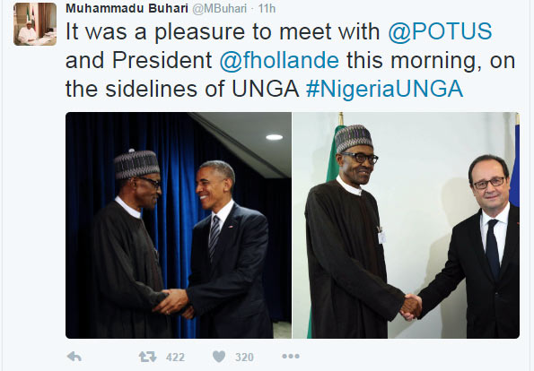 Nigerians blast President Buhari over pose with Barack Obama in New York