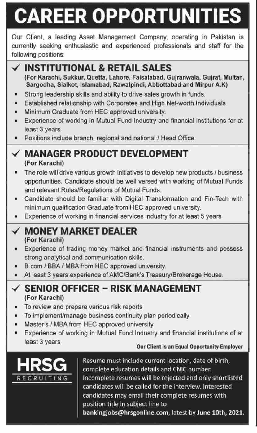 Leading Asset Management Company Jobs 2021 in Pakistan