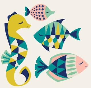 طريقة رسم السمكة الملونة بالورق