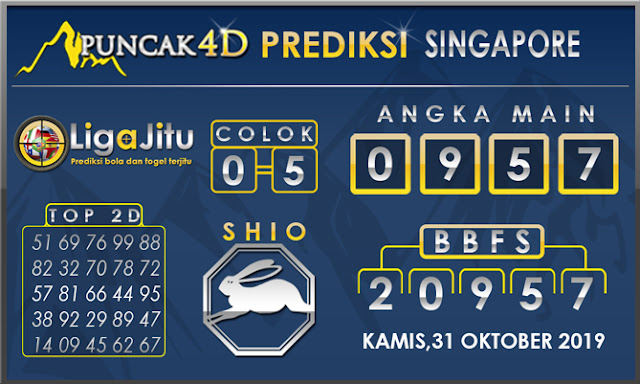 PREDIKSI TOGEL SINGAPORE PUNCAK4D 31 OKTOBER2019