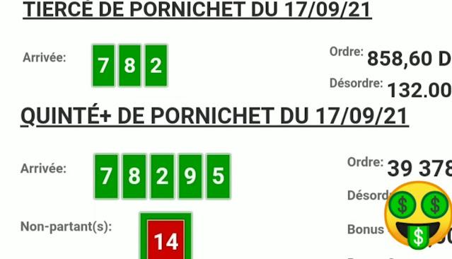 Arrivée DE AGENU 17/09/2021 Tiercé et Quinté