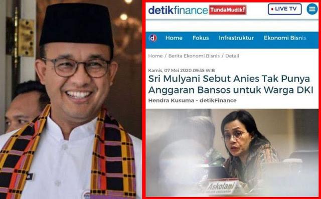 Bantah Sri Mulyani, Gubernur Anies Sudah Siapkan Rp 5 Triliun Untuk Bansos