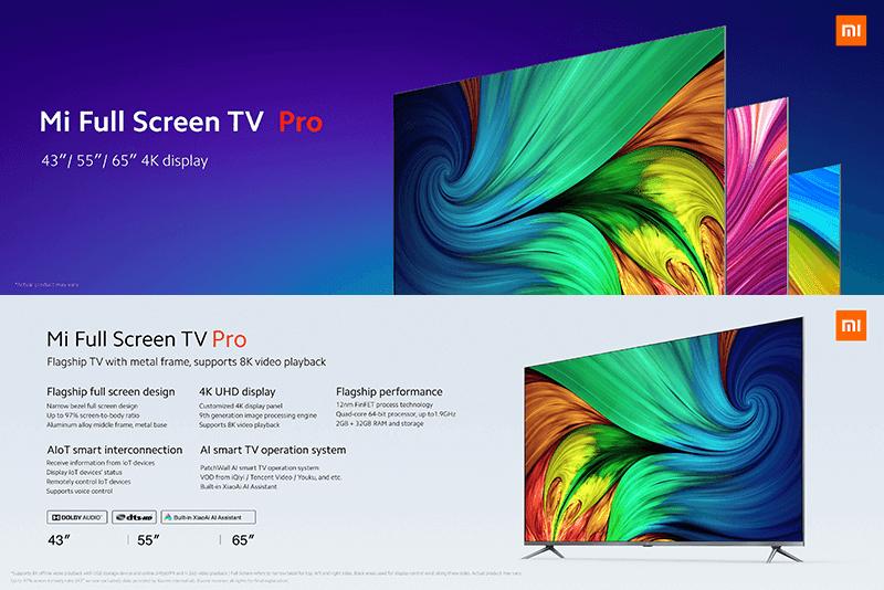 Xiaomi releases bezel-less Mi Full Screen TV Pro 4K TV with 8K video playback!