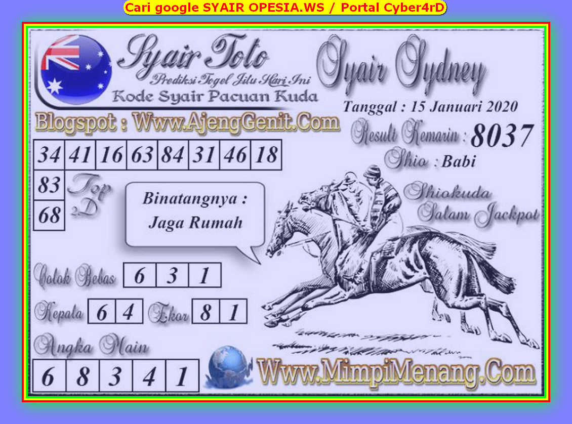 Kode syair Sydney Rabu 15 Januari 2020 66