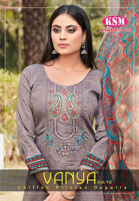 KSM Vanya Glaze Cotton Dress Material With Chiffon Dupatta