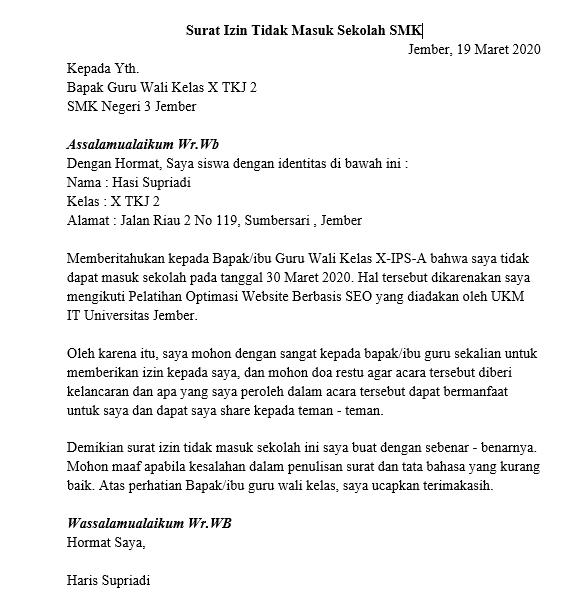 Contoh Surat Izin Tidak Masuk Sekolah SMK