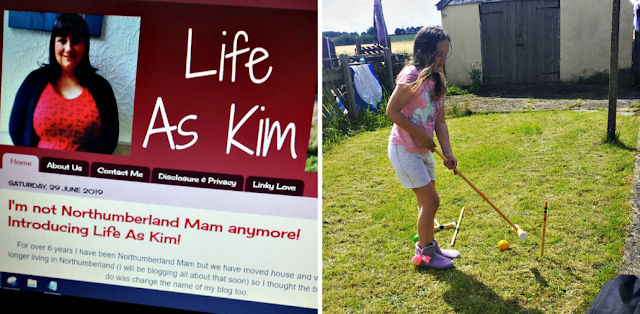 My new blog header and daughter playing croquet in the back garden