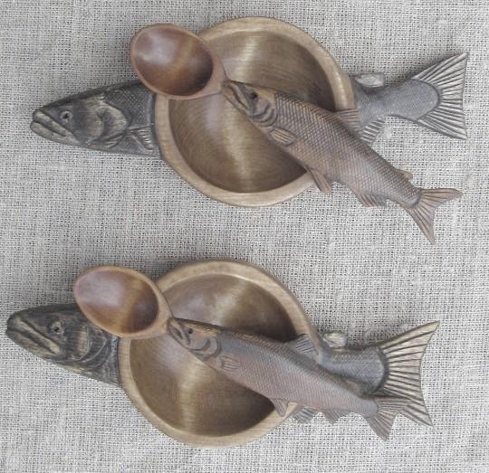 Резной деревянный набор для икры