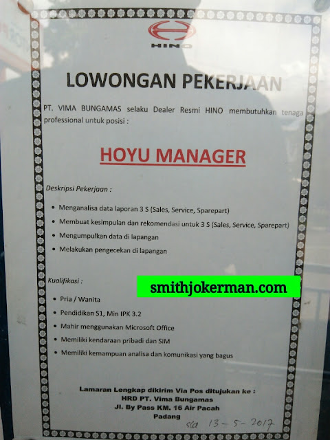 Lowongan Kerja Padang: PT. Vima Bungamas Mei 2017