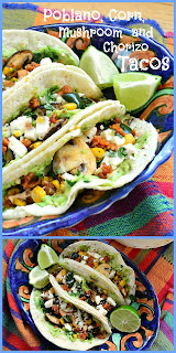 Tacos with corn, poblanos, mushrooms and chorizo are perfect for taco night. Leave out the chorizo and you have veggie tacos. Top with guac and you have a fiesta! #tacos #Mexicanfood www.thisishowicook.com.