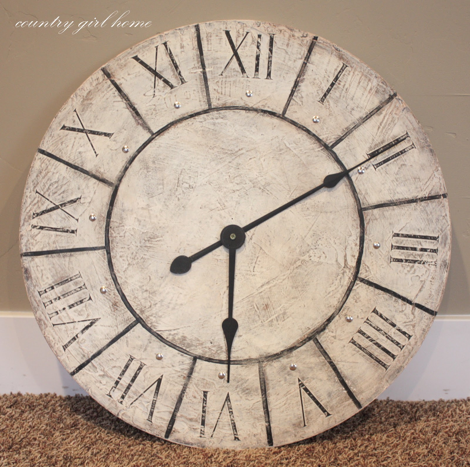 country girl home large wall clock re do. Black Bedroom Furniture Sets. Home Design Ideas