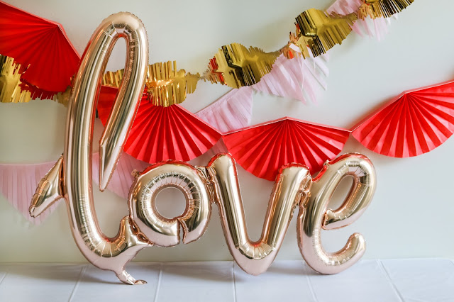love foil ballon at a Simple Valentine's Day party, Valentine's Day playdate, or Galentine's Party!