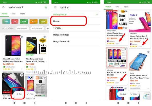 Mengurutkan daftar pencarian produk di aplikasi tokopedia