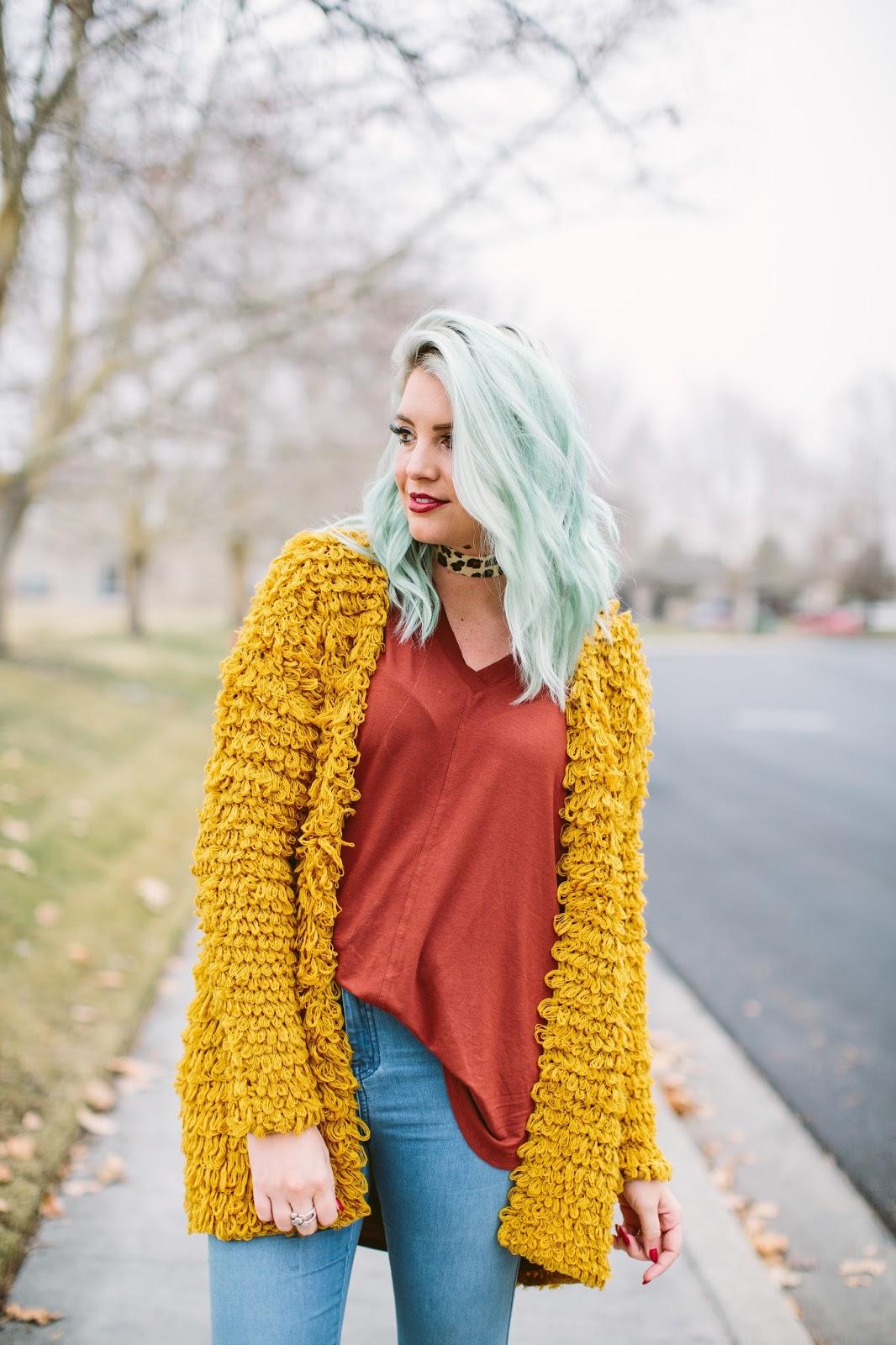 Leopard Choker, Mustard Cardigan, Winter Outfit