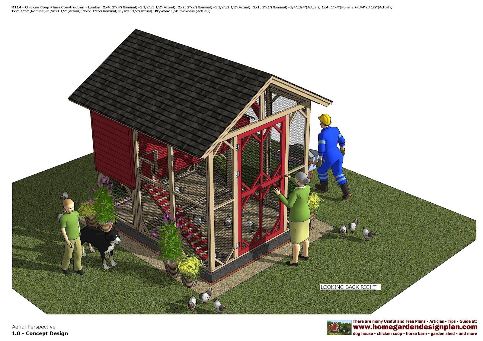 Home garden plans m114 chicken coop plans construction for Chicken coop designs for 3 chickens