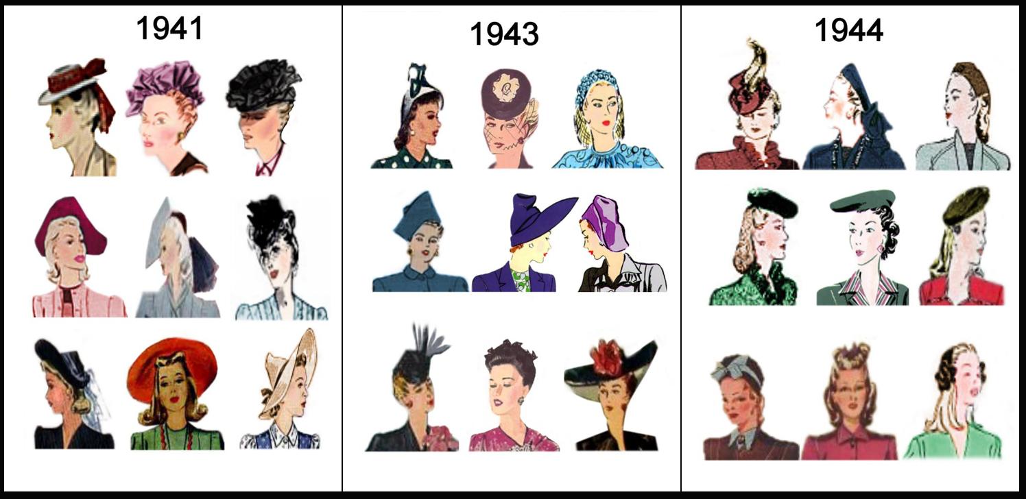 9a3fcea407 Penteados e chapéus dos anos 40.