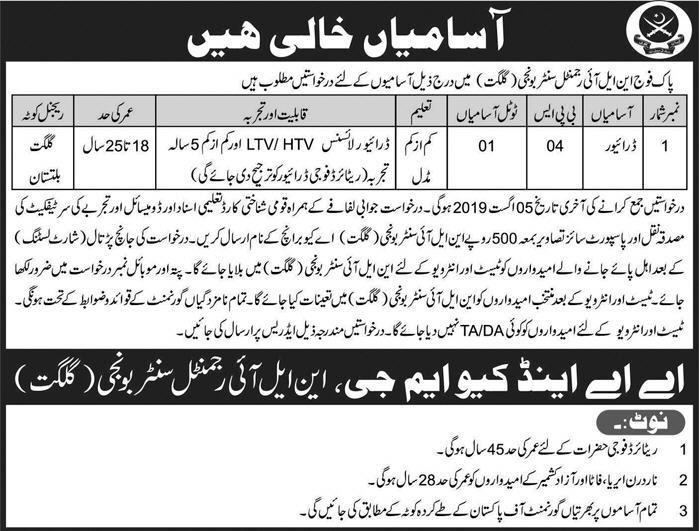 Advertisement for Pak Army Jobs