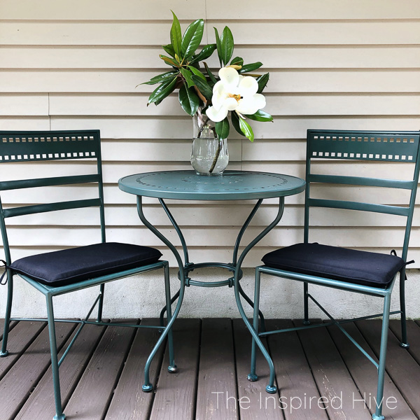 Spray painted outdoor bistro set