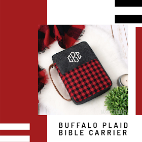 monogrammed buffalo plaid bible carrier