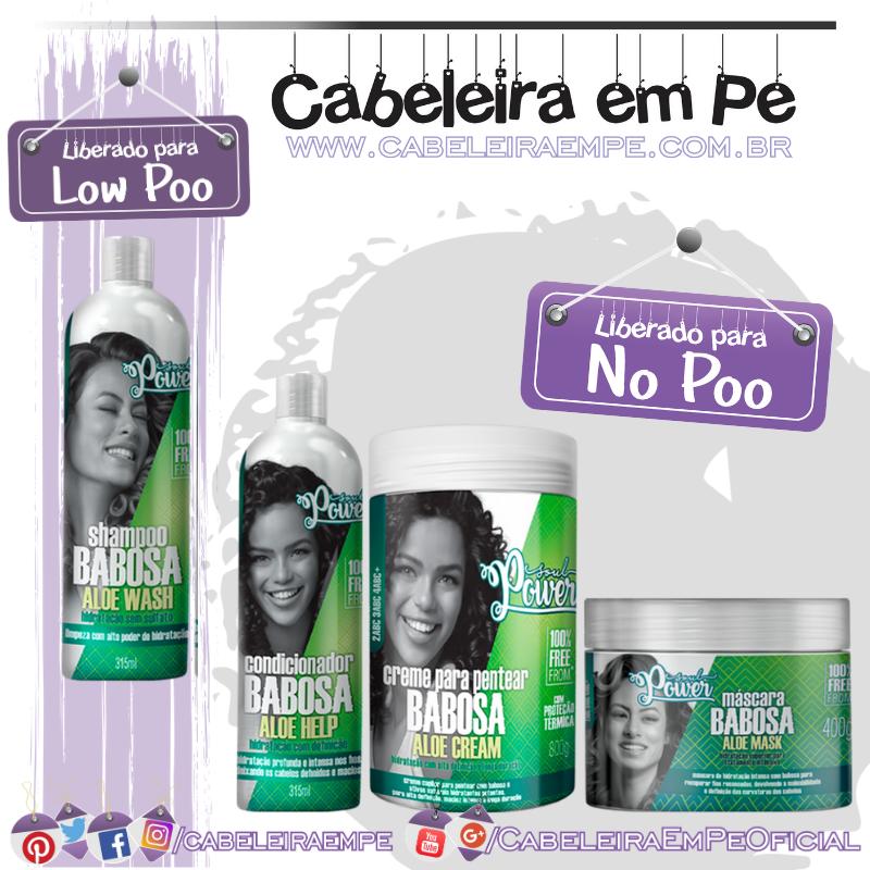 Shampoo (Low Poo), Condicionador, Máscara e Creme para Pentear (liberados para No Poo) Babosa - Soul Power