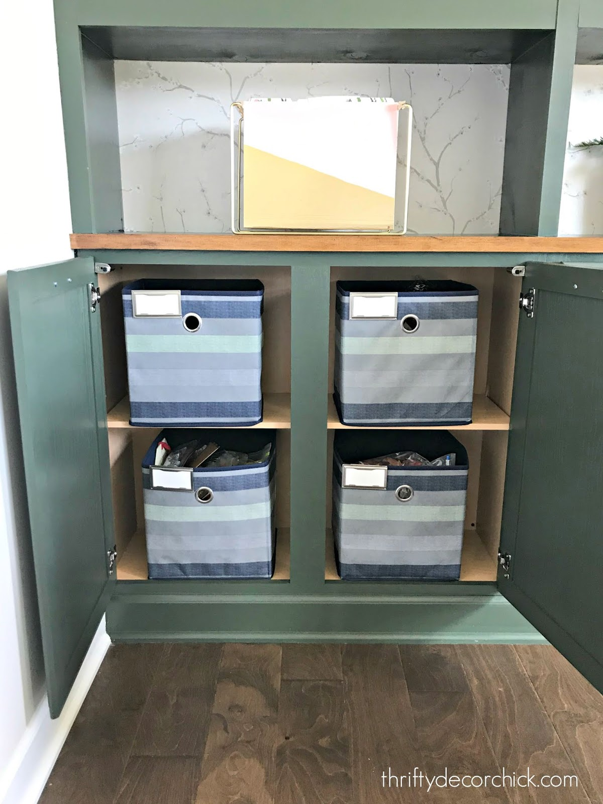 Office organization in bookcase cabinets