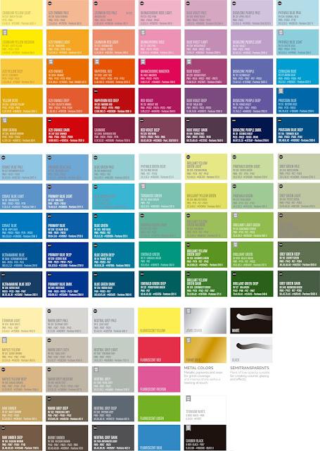 carta de colores sprays water based mtn