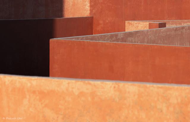 A Minimalist Photograph of the lines of different terrace walls at Jawahar Kala Kendra,Jaipur.