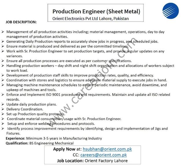 Orient Electronics Pvt Ltd Jobs Production Engineer