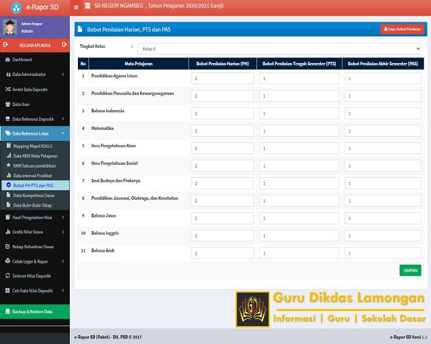 Bobot PH PTS dan PAS Menu Data Referensi Lokal dan Cara Mengisi Pada Aplikasi E-Raport SD