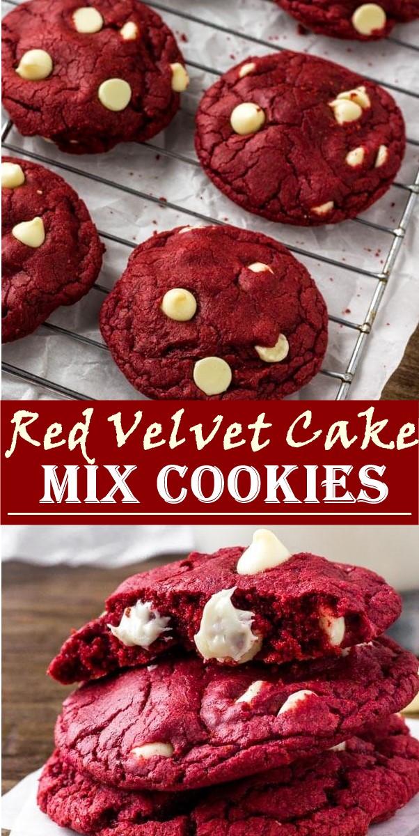 Red Velvet Cake Mix Cookies #cookiesrecipes