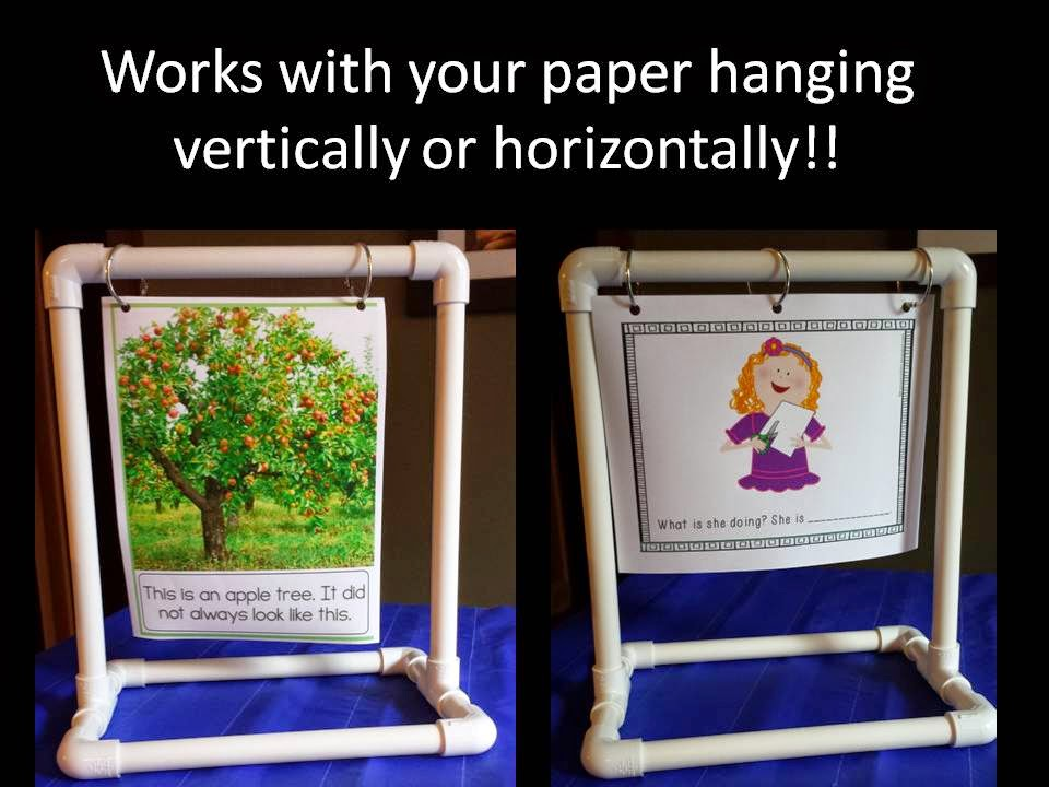 photo of hanging paper on the stand vertically and horizontally