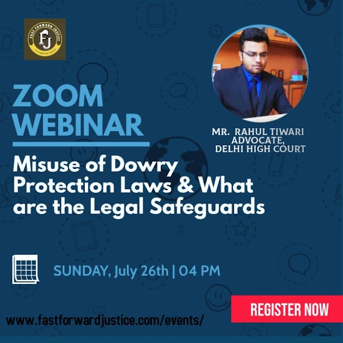 Webinar on Misuse of Dowry Protection Laws @ FAST FORWARD JUSTICE