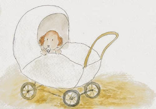 Postcard illustration of a little spaniel puppy in the stroller