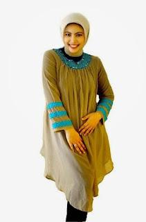 Gambar Baju Busana Muslim Wanita Gemuk Warna Coklat Krem Trend Terbaru