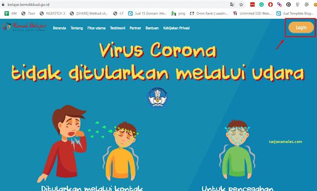 cara mendaftar rumah belajar kemdikbud - halaman login