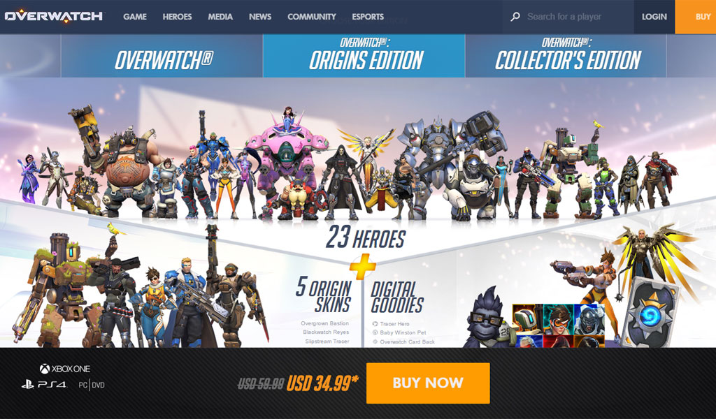 40  off on overwatch  origins edition  priced only at  34