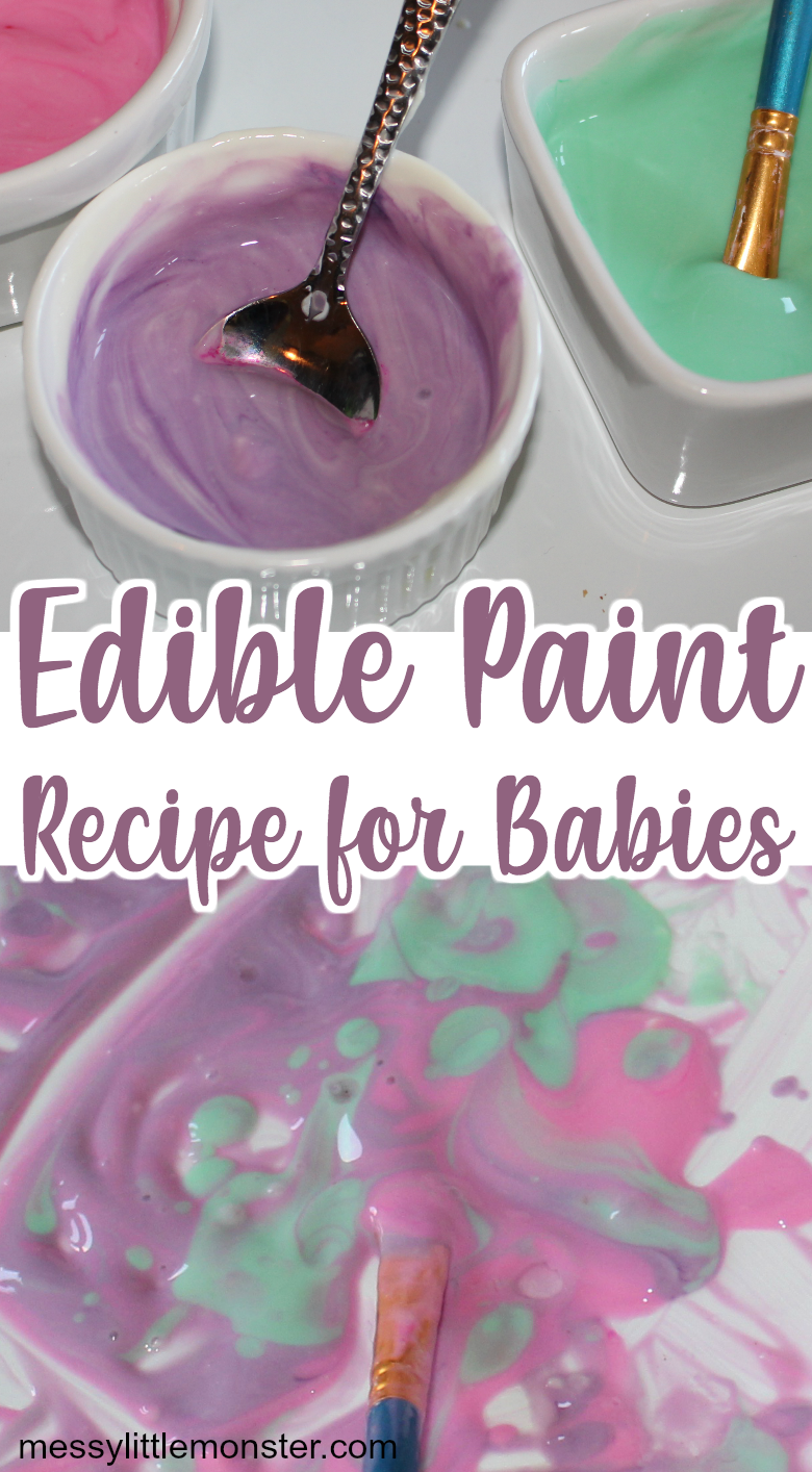 Edible paint for babies. Get baby painting with this taste safe baby finger paint!