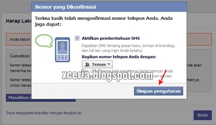Cara Membuat Facebook - Nomor Konfirmasi