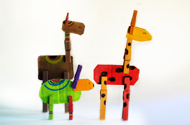 clothespin animals kids craft
