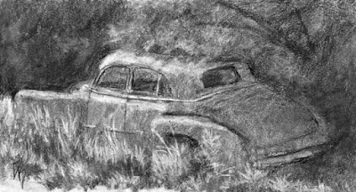 abandoned classic car Chevy charcoal sketch