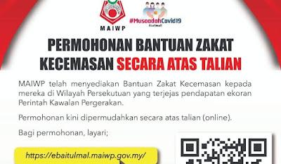 Permohonan Bantuan Zakat Kecemasan MAIWP Online (Wilayah Persekutuan)
